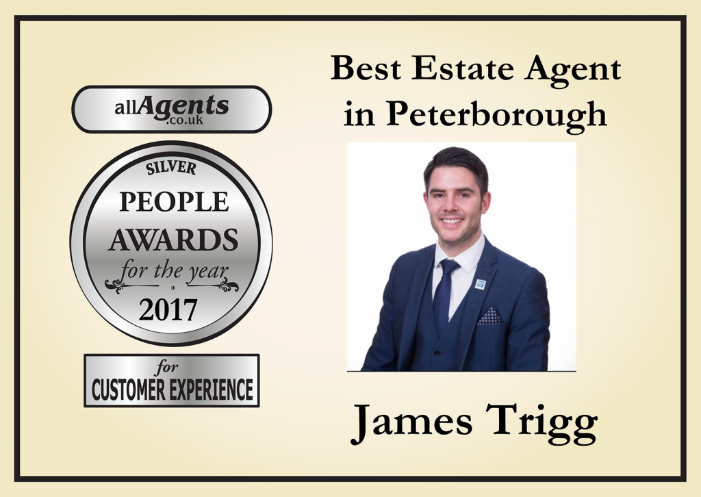 Who beat James to win the best estate agent in Peterborough award?